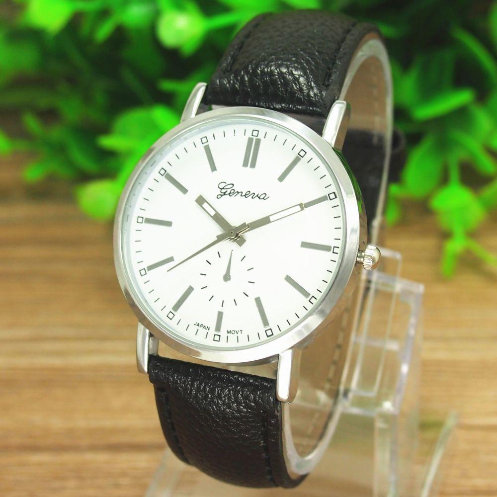 afee27d5930a2f Powiększ Elegancki zegarek koperta w kolorze srebrnym skórzany pasek kolor  czarny tarcza biała Z42