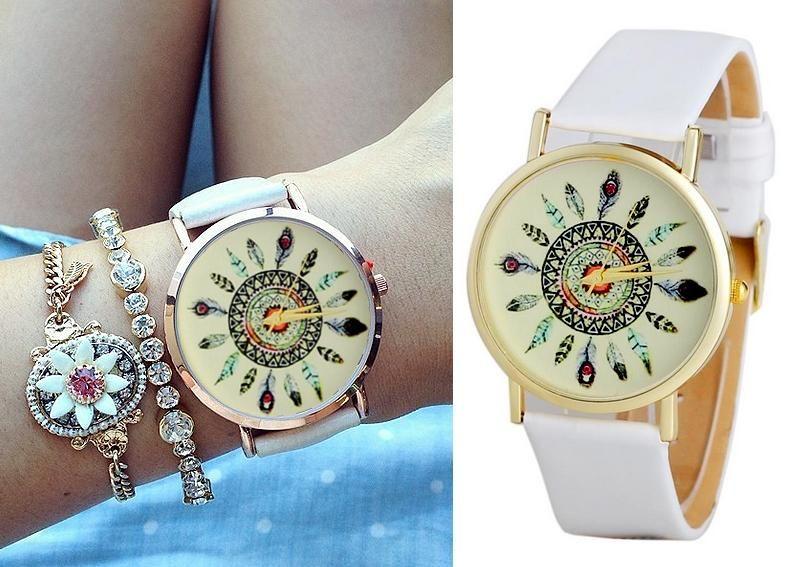 53a45ba02d8f67 Zegarek biały skórzany pasek złota tarcza pióra aztec łapacz snów moda