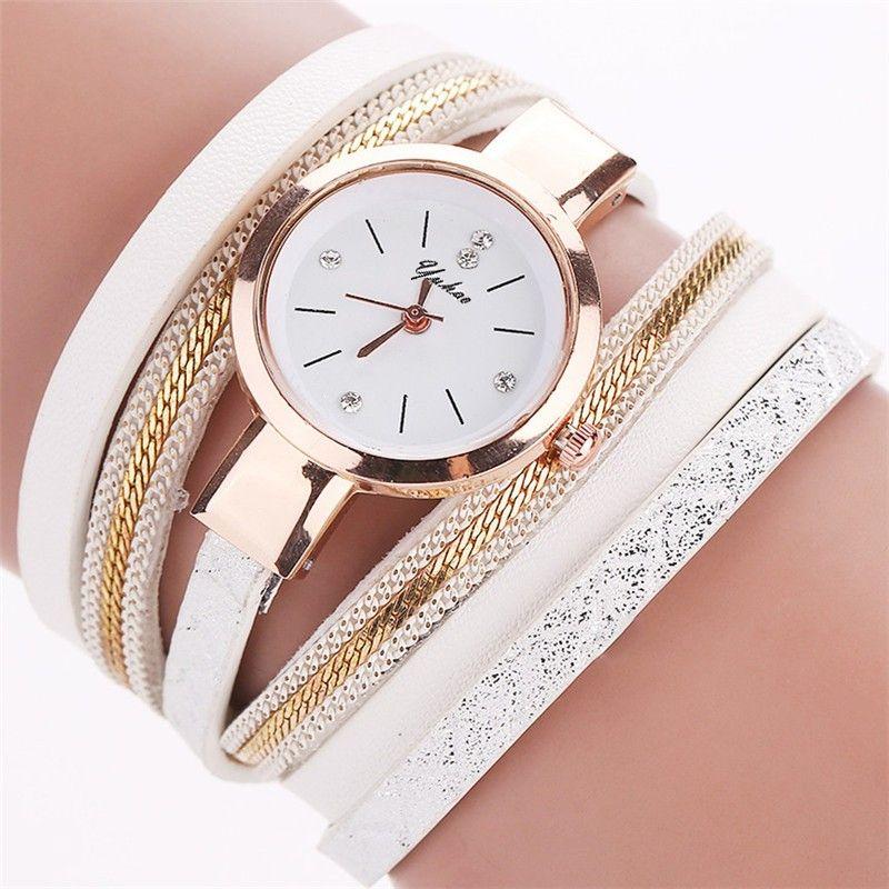 Super Zegarek na długim owijanym skórzanym pasku, kolor biały, cyrkonie ST29