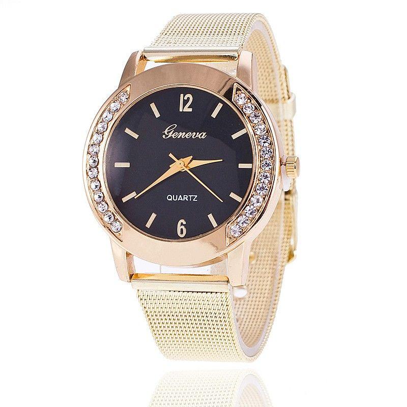zegarek złoty z cyrkoniami na tarczy