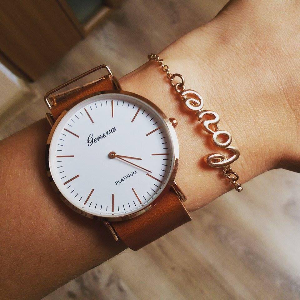Tylko na zewnątrz Elegancki zegarek na skórzanym pasku kolor brązowy a'la Daniel HS57