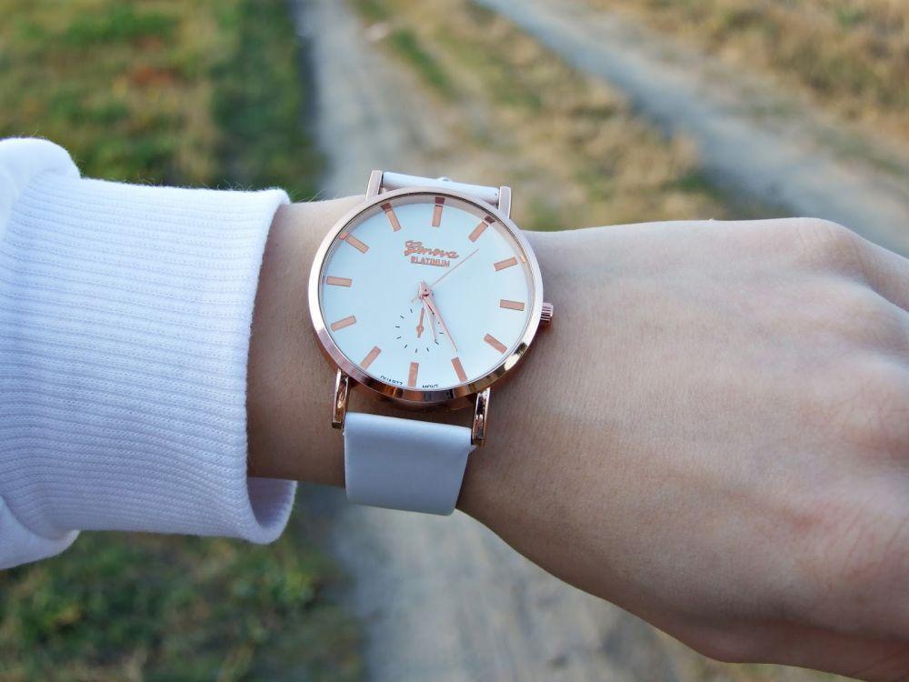 Zaawansowane Damski klasyczny zegarek skórzany pasek kolor biały moda KF29